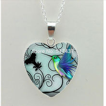 2017 New Blue Hummingbird Heart Necklace Blue Hummingbird Heart Pendant Jewelry Silver Heart Necklace HZ3(China)