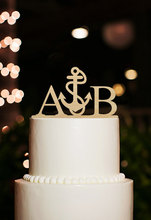 Nautical Cake Topper, Custom Couple Initial Cake Toppers, Personalized Monogram Cake Topper Beach Wedding Decoration Cake Topper