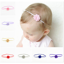 20PCS Newborn Baby Girl Headbands Rose Elastic Fine Hair Band  Fabric Flowers Hair Ties Hair Bands For Women