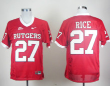 Nike Jerseys Rutgers Scarlet Knights Ray Rice 27 Red Big East Patch College Ice Hockey Jerseys S,M,L,XL,XXL,3XL(China)
