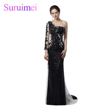 Unique Design Sheer Illusion Mermaid Evening Dresses 2018 Nude Black Sequines Applique One Long Sleeves Celebrity Evening Gowns