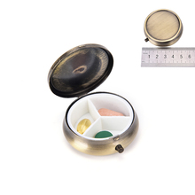 Metal Round Pill Boxes DIY Medicine Organizer Container Medicine Case(China)