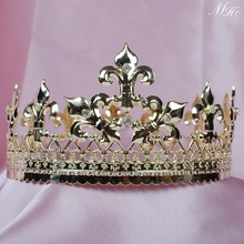King Tiaras Diadem Gold Round Crowns Imperidal Medieval Austrian Rhinestones Crystal Pageant Party Art Deco For Men