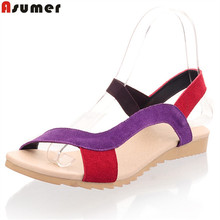 ASUMER Women sandals high quality cow suede real leather sandals mixed color flat summer shoes woman ladies platform shoes