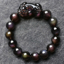 JoursNeige Natural Black Ice Obsidian Stone Bracelets 14mm Beads Fine Caving Pi Xiu Jewelry Bracelet Wristband(China)