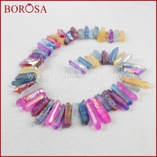 BOROSA 3 Strands Rainbow Color Cluster Aura Druzy Quartz Crystal Point Pendant Loose Beads Fashion Jewelry for Women G0905