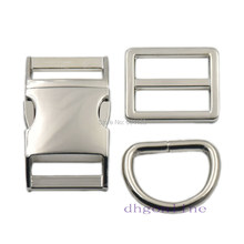 "2 Sets Buckles Hook Clip 1"" 25mm D Dee Ring Side Release Adjustor Triglides dog collar(China)"