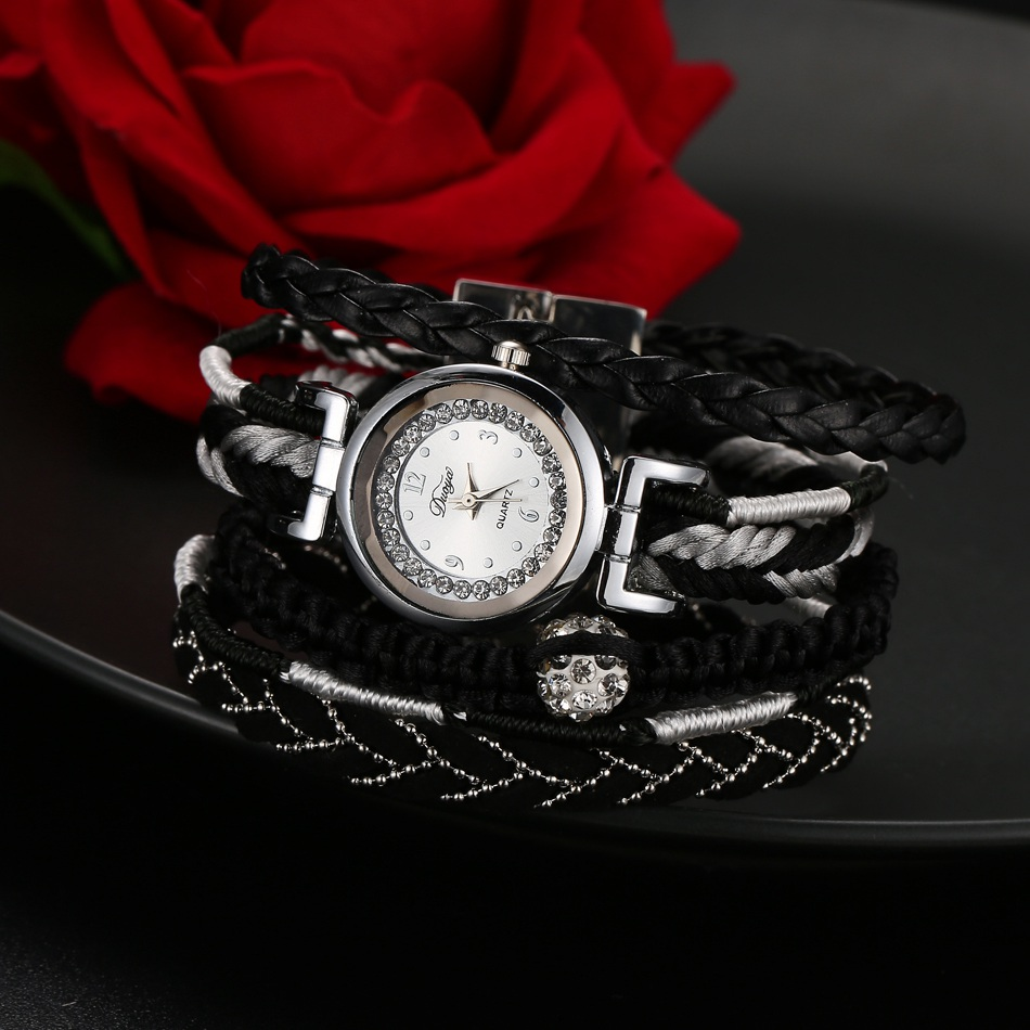 Duoya Fashion Brand Women Weaved Bracelet Watch Leather Waterproof Steel Wristwatch Magnetic Clasp Rhinestone Quartzwatch<br><br>Aliexpress