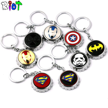 Hot movie series keychain creative bottle opener for Star Wars Captain America Iron Man superman Keyring pendant metal chaveiro(China)