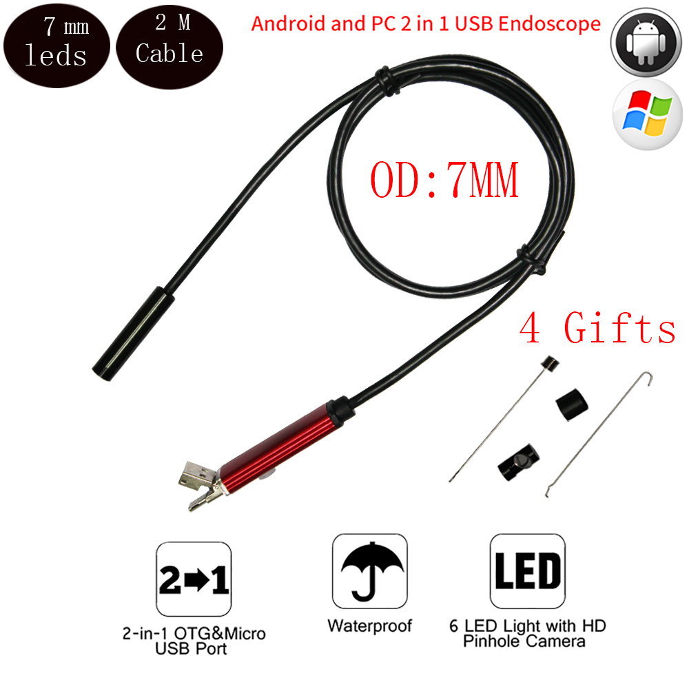 HD 2M Cable IP67 Waterproof  7mm Micro Usb Android OTG PC Endoscope Camera Inspection Borescope Snake Tube Pipe Not IP Camera<br><br>Aliexpress
