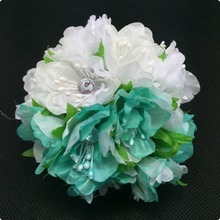 HOT!!! 2015 NEW 4cm (60pcs/lot) Transparent diamond beads Flower Bouquet/wire stem/ Scrapbooking artificial cloth flowers(China)