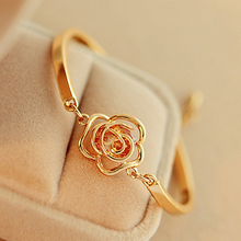 Women Golden Flower Crystal Rose Bangle Cuff Chain Bracelet Chic Jewelry Present