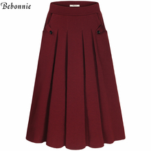 Plus Size Skirt Womens High Waisted Skirts With Pockets Bottoms Pleated Skirt Red Grey Black 2017 Summer Femme Casual Skirts