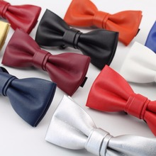 High Quality Classic PU Pattern Leather Ties Butterfly Wedding Party Bowtie Solid Color Plush Noble Bow Tie(China)