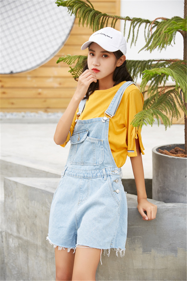 Summer new college style sweet diagonal personalized pockets skirts pants denim shorts female (3)