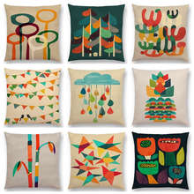 Colorful Cartoon Plants Cute Trees Rain Stars Flowers Leaf Rainbow Geometric Abstract Pattern Cushion Cover Sofa Pillow Case