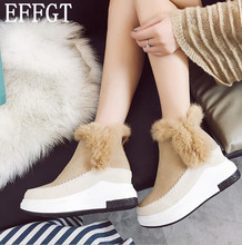 EFFGT 2017 NEW Hot Sale Shoes Women Boots Soft Cute Snow Boots Round Toe Real rabbit fur Ankle Boots Y128