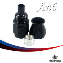 PQY RACING- Black High Quality PTEF  AN6 AN-6 Straight REUSABLE SWIVEL TEFLON HOSE END FITTING AN6 PQY-SL6000-06-021