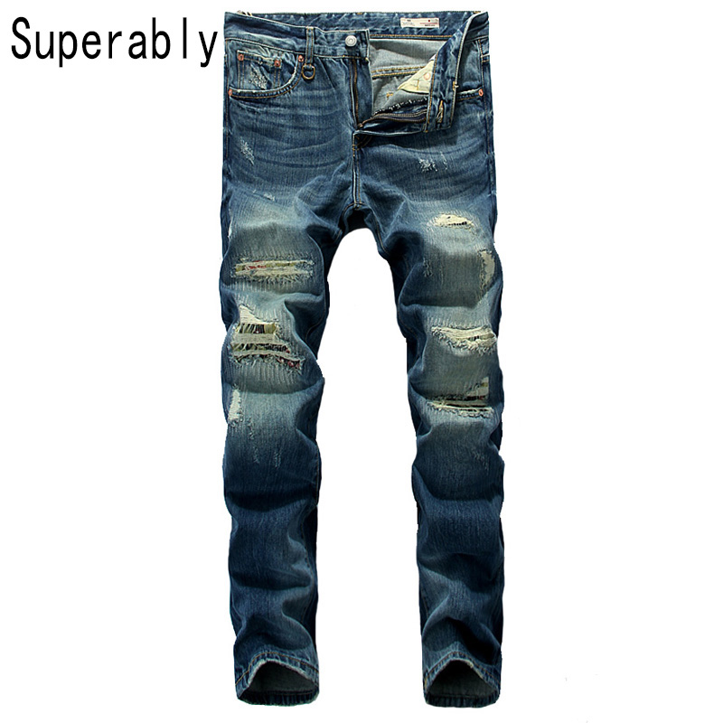 Superably Brand Jeans Men High Quality Straight Fit Ripped Jeans For Men Distressed Pants Blue Color Designer Men Jeans TrousersОдежда и ак�е��уары<br><br><br>Aliexpress