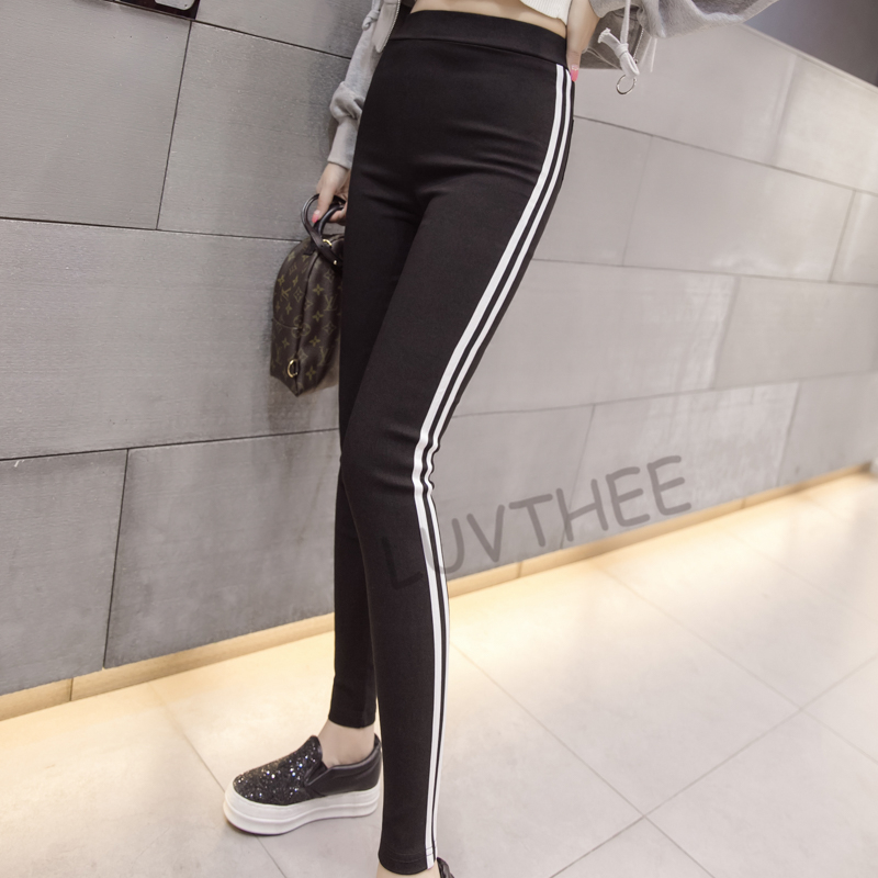 3cbbceff55d 2019 Casual Trousers For Women Red White Striped Elastic Pencil ...