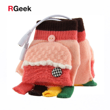 Laptop Women's Men's USB Heated Half Full Finger Winter Knitted Warm Hand Gloves Warmer Wool Best Winter Gift Choice(China)