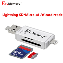 Dr.Memory 3 in 1 Memory Card Reader For Lightning/Micro/USB 2.0 Micro SD Card/TF Card OTG Reader For iPad/iPhone Card Adapter(China)