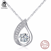 ORSA JEWELS 100% Sterling Silver 925 Water-Drop Pendant Necklace with Movable Shiny Cubic Zirconia Genuine Silver Jewelry SN41(China)