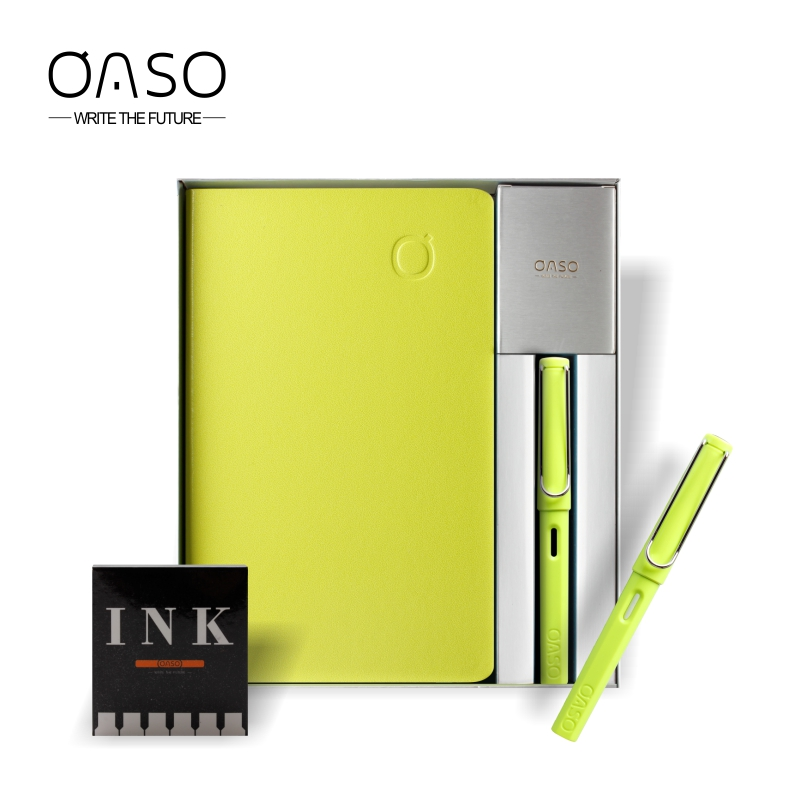 OASO S007 High-end Fountain Pen Set with Notebook and Ink Cartridge Hollow Clip 0.38mm 0.5mm Student Business Gift Pen Set<br>