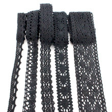 Lucia Crafts 2yards/lot Black Lace Fabric Trim Ribbon DIY Garment Hair Accessories embroidered lace ribbon 050021159