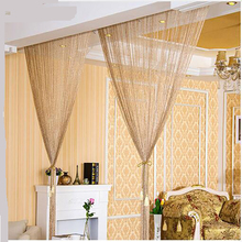 Di alta qualità 2.9x2.9 m Lucido Nappa Flash Argento Linea String Tenda Della Finestra Porta Divisoria Sheer Tende Valance Casa decorazione(China)