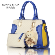 SUNNY SHOP  European American fashion casual alligator Women Handbag patent leather PU shoulder bags with purse bear toy