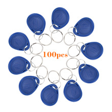 100pcs/lot Proximity Keyfobs Ring TK4100 125KHz RFID Tag Cards Door Control Entry Access EM Key Chain Card RFID Keyfbos(China)