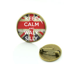 Best Deals Ever flag of UK brooches Keep calm and walk silly picture badge personalized gift your finish choice C 982(China)
