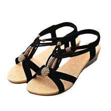 Women's Casual Peep-toe Flat Buckle Shoes Roman Summer Sandals 2017 hot sale on gift wholesale