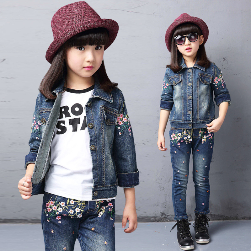 Spring fall Style Girls flower children clothing set Denim jacket + Jean pant 2 piece set For Kids Wear to 2 4 6 8 10 12 Year<br><br>Aliexpress