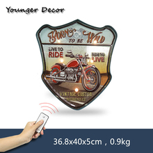 Live To Ride Vintage Custom Motorcycles Neon Light Sign Shabby Chic Home Decor For Cinema Bar Garage Wall Decorative Plate YA107(China)