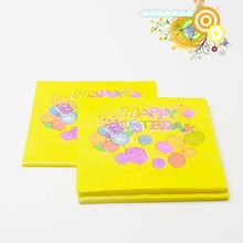 20pcs/bag The 1st Birthday Party Yellow Princess Theme Paper Napkin Tissue Birthday Party Candles Gift Theme Party Decoration