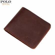 VICUNA POLO Famous Brand Men's Genuine Leather Wallet Vintage Crazy Horse Leather Man Wallet Simple Design Money Clip Wallet Man(China)
