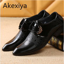 Akexiya 2017 Office Men Dress Shoes Italian Wedding Man Casual Shoes Oxfords Suit Shoes Man Flats Leather Shoes Zapatos Hombre(China)