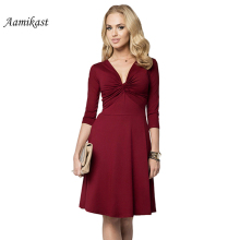 Buy Aamikast Women sexy Dress 2017 Elegant A-Line Party Plus Size Dresses Fit Flare Ruched Solid Color Casual Female Vestidos for $13.41 in AliExpress store