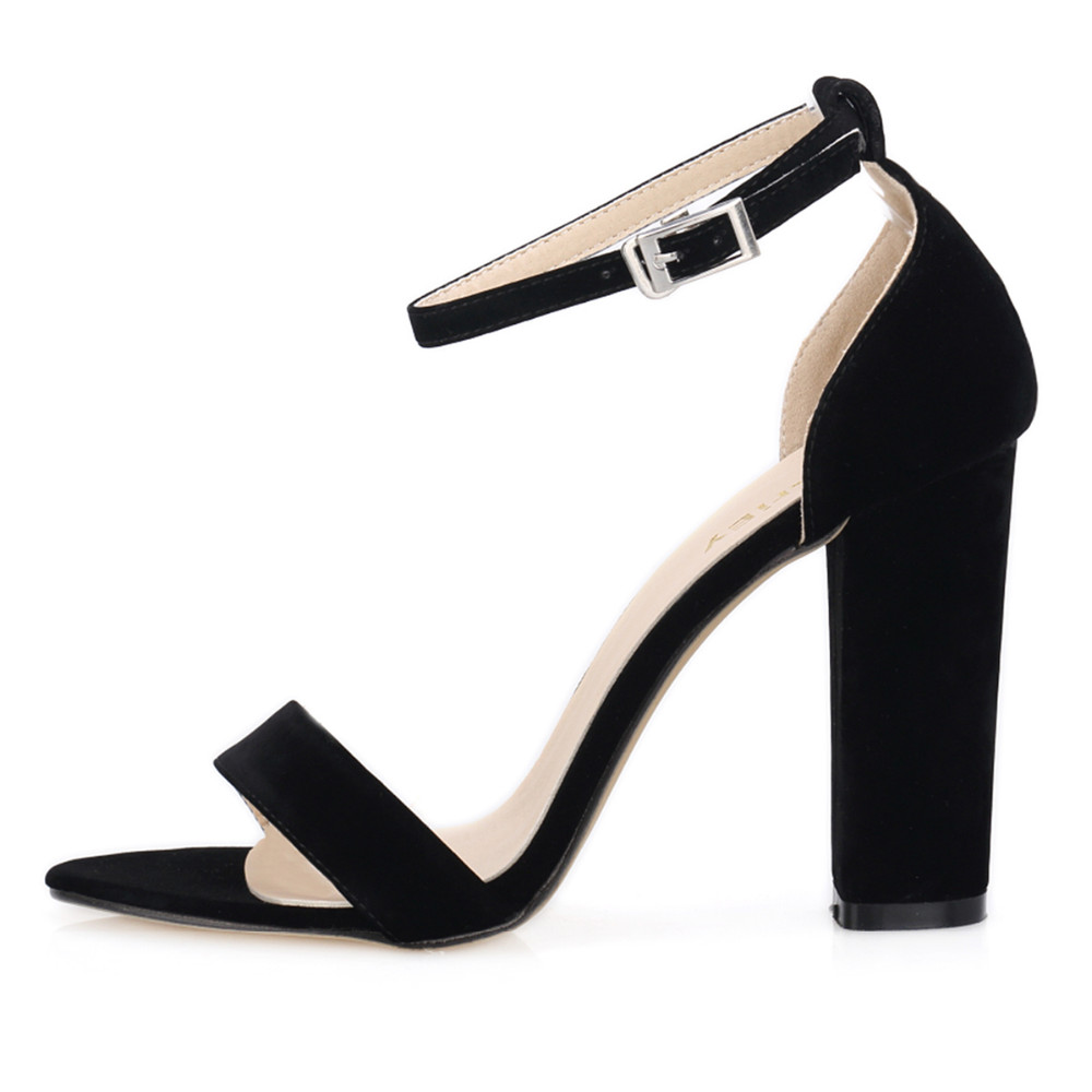 Newest Women Open Toe Summer Ladies Bridal Suede Thick Heel Pumps Sexy Ankle Straps Sandals High Heels  368-1VE<br>