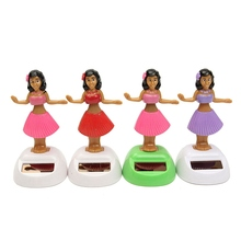 4pcs/set Solar Powered Dancing Hula Girl Swinging Bobble Toy Gift For Car Decoration Novelty Happy Dancing Solar Girls Toys(China)