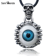 Punk Men's Skeleton Skull Eyes Pendants Silver Tone Titanium Stainless Steel Pendant For Man Leather Chain Necklace YK50100