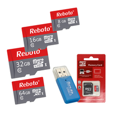 Reboto Micro SD Card 8GB 16GB 32GB 64GB Memory Card Class 10 64gb Red and Gray TF Card for Phone 8gb Free Card Reader(China)