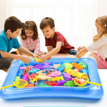 40pcs/lot Magnetic Fishing Toy With Inflatable Pool Rod Net Set For Kids Party Model Play Fishing Games Summer Outdoor Toys(China)