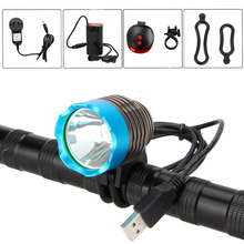 LED Bicycle Light 3000LM XML T6 LED USB Head Front Bike Light Headlight 4x18650 Rechargeable Battery+Rear Light(China)