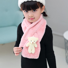 Fashion Children's Scarf Faux Fur Hijab Winter Cute Children's Bear Pashminas Shawl Wraps Scarves Fantastic Gifts(China)