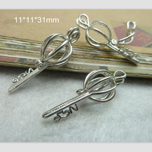 Free Shipping - 6 pcs/lot Silver Key Locket Charm Pendant Balloon Cage with Hinge 11*11*31mm