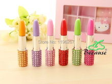 24PCS lipstick with rhinestone gift pen cute novelty pen kids birthday party gift baby shower souvenir(China)