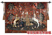 Medieval 100% cotton tapestry wall hanging decoration home textile unicorn series -Sense of taste jacquard fabric picture custom